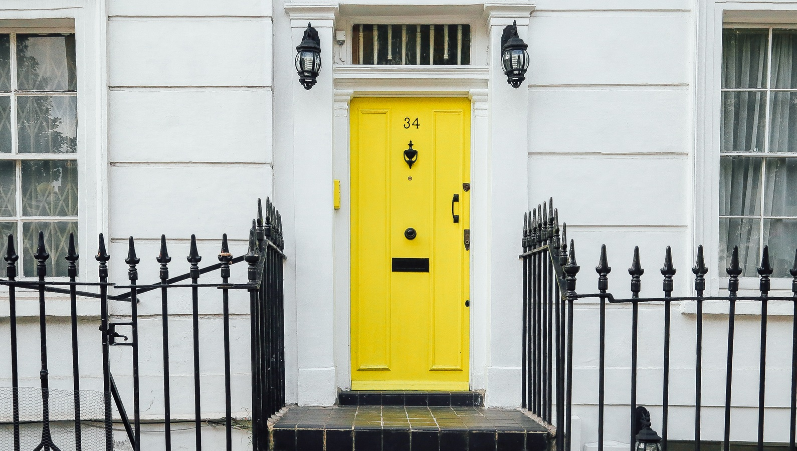 Rental property with a yellow door